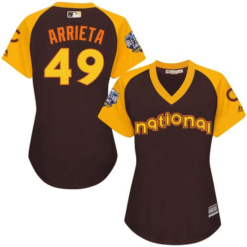 Cubs #49 Jake Arrieta Brown 2016 All-Star National League Women's Stitched MLB Jersey