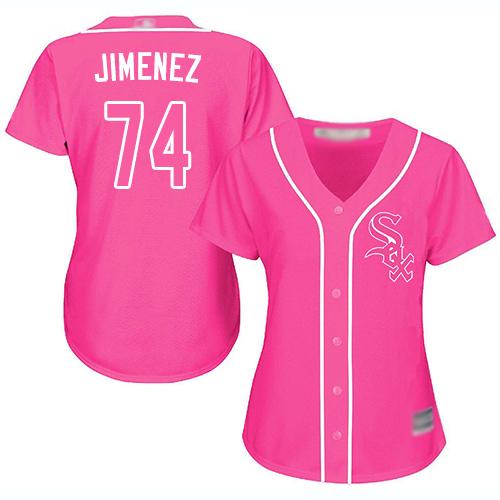 White Sox #74 Eloy Jimenez Pink Fashion Women's Stitched MLB Jersey
