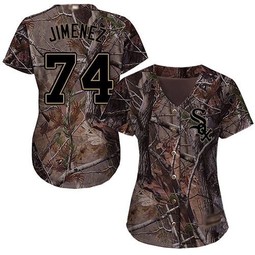 White Sox #74 Eloy Jimenez Camo Realtree Collection Cool Base Women's Stitched MLB Jersey