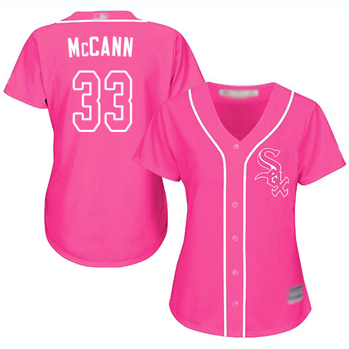 White Sox #33 James McCann Pink Fashion Women's Stitched MLB Jersey