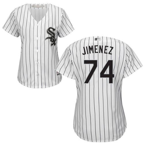 White Sox #74 Eloy Jimenez White(Black Strip) Home Women's Stitched MLB Jersey