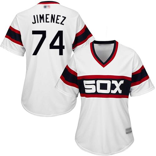 White Sox #74 Eloy Jimenez White Alternate Home Women's Stitched MLB Jersey
