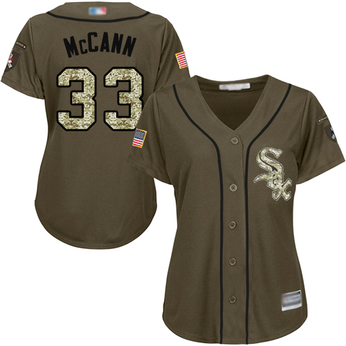 White Sox #33 James McCann Green Salute to Service Women's Stitched MLB Jersey