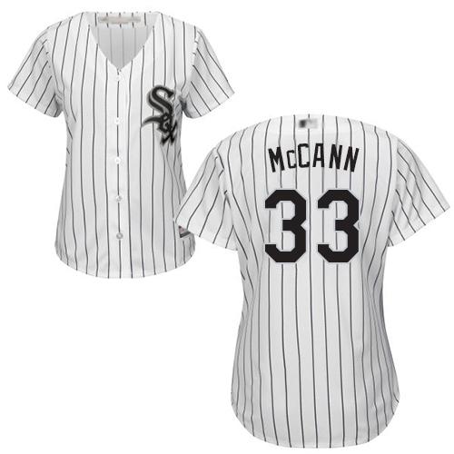 White Sox #33 James McCann White(Black Strip) Home Women's Stitched MLB Jersey