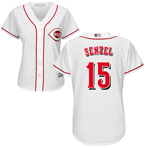 Reds #15 Nick Senzel White Home Women's Stitched MLB Jersey