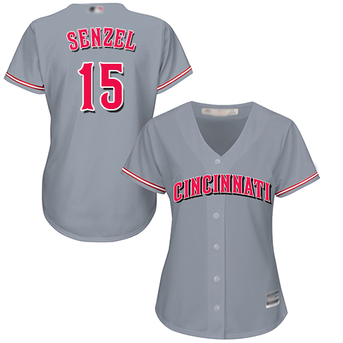 Reds #15 Nick Senzel Grey Road Women's Stitched MLB Jersey
