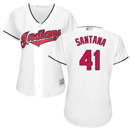 Indians #41 Carlos Santana White Home Women's Stitched MLB Jersey