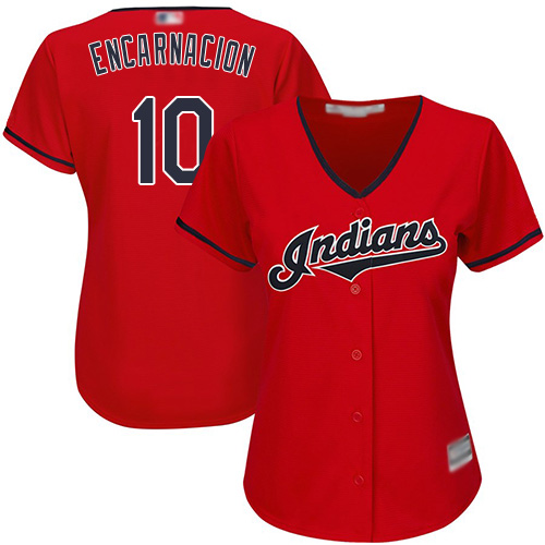 Indians #10 Edwin Encarnacion Red Women's Stitched MLB Jersey
