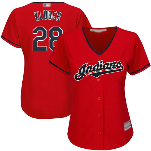 Indians #28 Corey Kluber Red Women's Stitched MLB Jersey