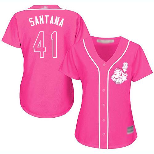 Indians #41 Carlos Santana Pink Fashion Women's Stitched MLB Jersey