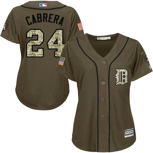 Tigers #24 Miguel Cabrera Green Salute to Service Women's Stitched MLB Jersey