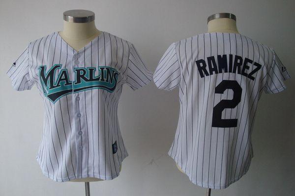 Marlins #2 Hanley Ramirez White Women's Fashion Stitched MLB Jersey
