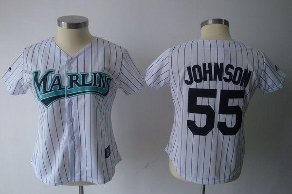 Marlins #55 Josh Johnson White Women's Fashion Stitched MLB Jersey