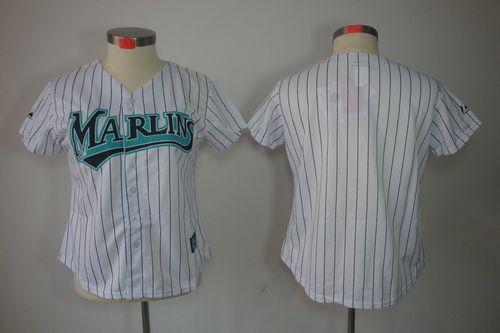 Marlins Blank White Women's Fashion Stitched MLB Jersey