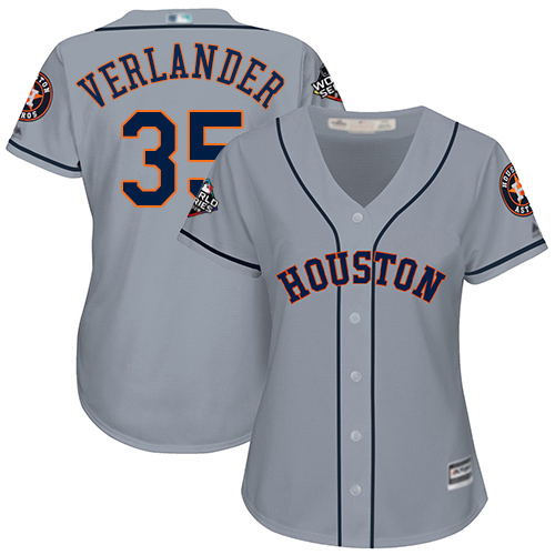 Astros #35 Justin Verlander Grey Road 2019 World Series Bound Women's Stitched MLB Jersey