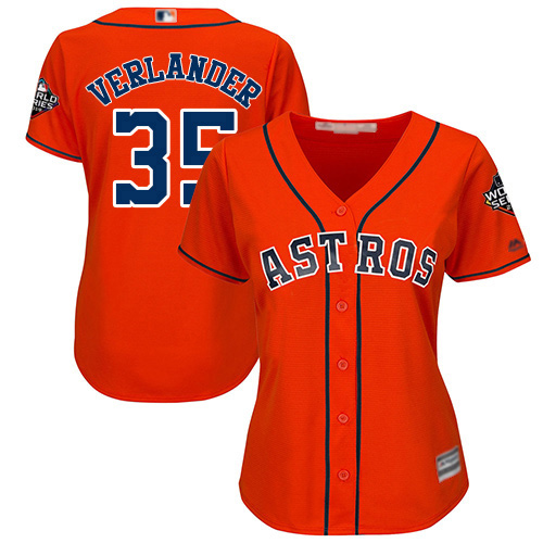 Astros #35 Justin Verlander Orange Alternate 2019 World Series Bound Women's Stitched MLB Jersey