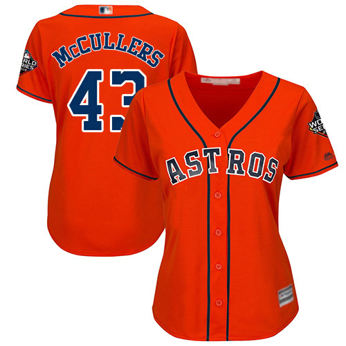 Astros #43 Lance McCullers Orange Alternate 2019 World Series Bound Women's Stitched MLB Jersey