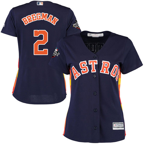 Astros #2 Alex Bregman Navy Blue Alternate 2019 World Series Bound Women's Stitched MLB Jersey