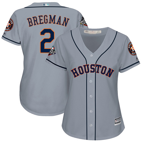 Astros #2 Alex Bregman Grey Road 2019 World Series Bound Women's Stitched MLB Jersey