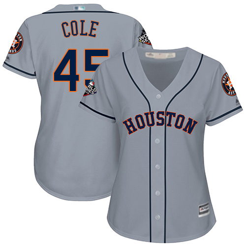 Astros #45 Gerrit Cole Grey Road 2019 World Series Bound Women's Stitched MLB Jersey