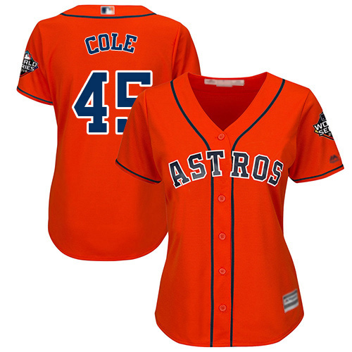 Astros #45 Gerrit Cole Orange Alternate 2019 World Series Bound Women's Stitched MLB Jersey