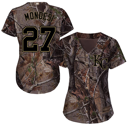 Royals #27 Raul Mondesi Camo Realtree Collection Cool Base Women's Stitched MLB Jersey