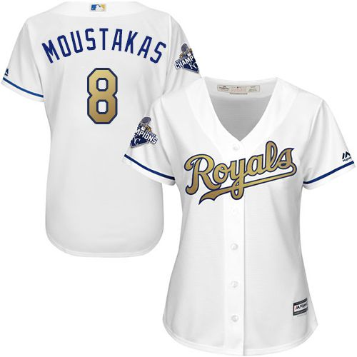 Royals #8 Mike Moustakas White 2015 World Series Champions Gold Program Cool Base Women's Stitched MLB Jersey