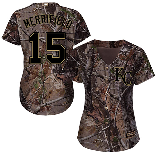 Royals #15 Whit Merrifield Camo Realtree Collection Cool Base Women's Stitched MLB Jersey