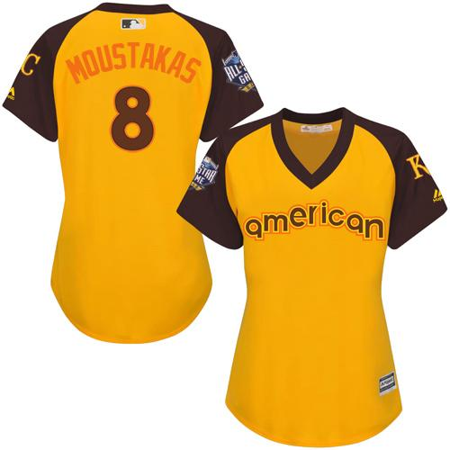 Royals #8 Mike Moustakas Gold 2016 All-Star American League Women's Stitched MLB Jersey