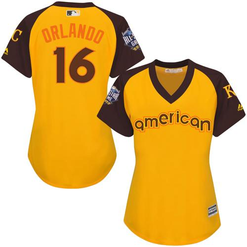 Royals #16 Paulo Orlando Gold 2016 All-Star American League Women's Stitched MLB Jersey