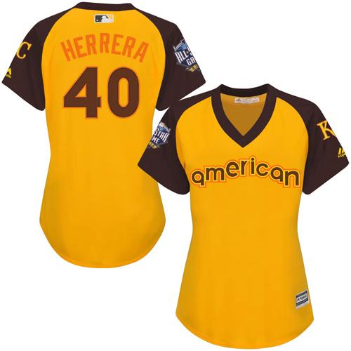 Royals #40 Kelvin Herrera Gold 2016 All-Star American League Women's Stitched MLB Jersey