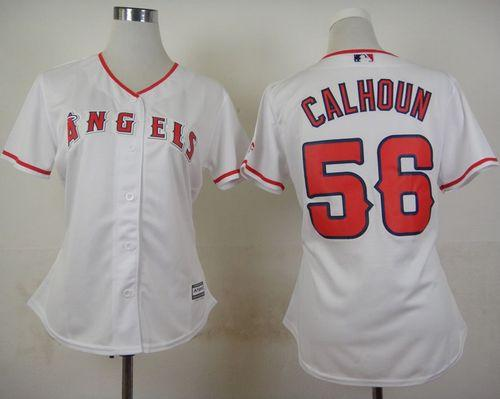 Angels #56 Kole Calhoun White Home Women's Stitched MLB Jersey