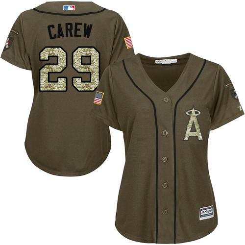 Angels #29 Rod Carew Green Salute to Service Women's Stitched MLB Jersey