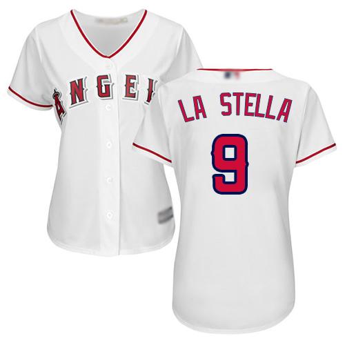 Angels #9 Tommy La Stella White Home Women's Stitched MLB Jersey