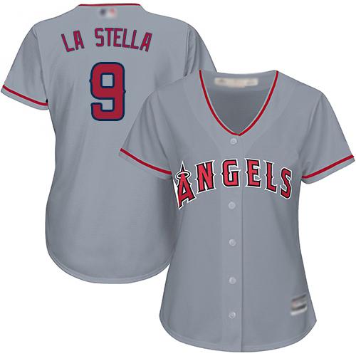 Angels #9 Tommy La Stella Grey Road Women's Stitched MLB Jersey