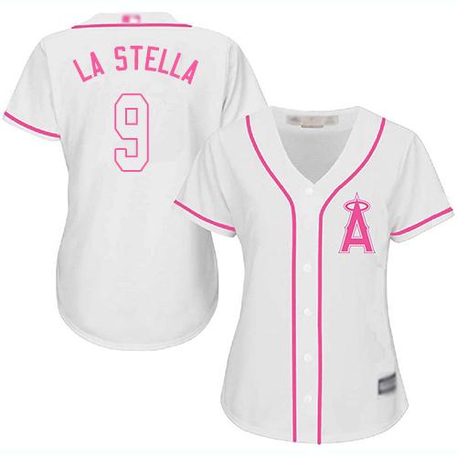 Angels #9 Tommy La Stella White/Pink Fashion Women's Stitched MLB Jersey