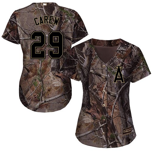 Angels #29 Rod Carew Camo Realtree Collection Cool Base Women's Stitched MLB Jersey