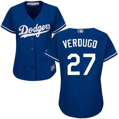 Dodgers #27 Alex Verdugo Blue Alternate Women's Stitched MLB Jersey