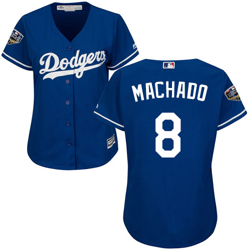 Dodgers #8 Manny Machado Blue Alternate 2018 World Series Women's Stitched MLB Jersey