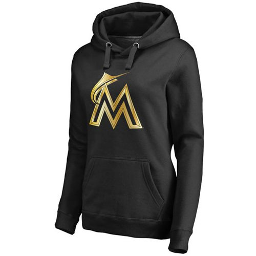 Women's Miami Marlins Gold Collection Pullover Hoodie Black