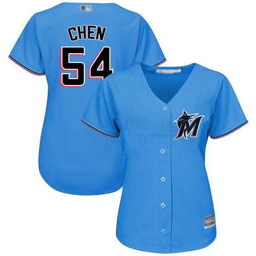 Marlins #54 Wei-Yin Chen Blue Alternate Women's Stitched MLB Jersey