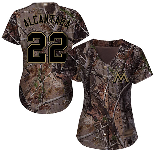 Marlins #22 Sandy Alcantara Camo Realtree Collection Cool Base Women's Stitched MLB Jersey