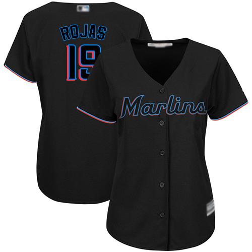 Marlins #19 Miguel Rojas Black Alternate Women's Stitched MLB Jersey
