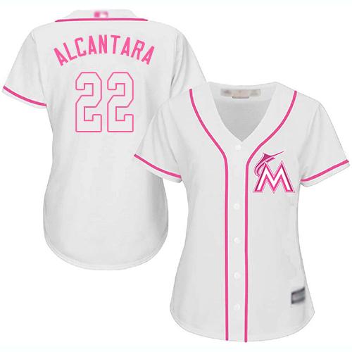 Marlins #22 Sandy Alcantara White/Pink Fashion Women's Stitched MLB Jersey