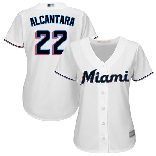 Marlins #22 Sandy Alcantara White Home Women's Stitched MLB Jersey