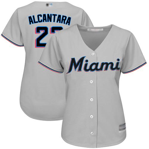 Marlins #22 Sandy Alcantara Grey Road Women's Stitched MLB Jersey