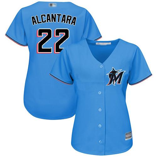 Marlins #22 Sandy Alcantara Blue Alternate Women's Stitched MLB Jersey