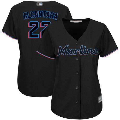 Marlins #22 Sandy Alcantara Black Alternate Women's Stitched MLB Jersey