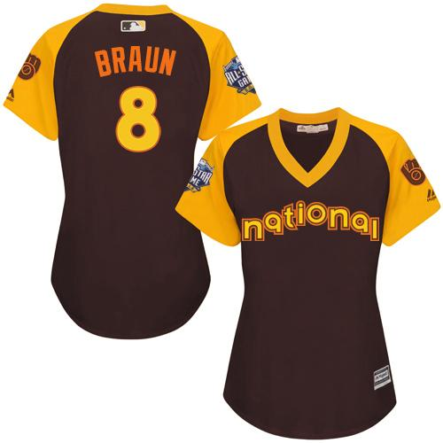 Brewers #8 Ryan Braun Brown 2016 All-Star National League Women's Stitched MLB Jersey
