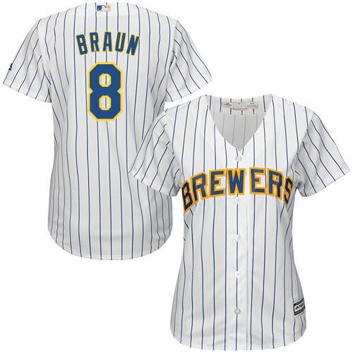 Brewers #8 Ryan Braun White With Blue Strip Lady Fashion Stitched MLB Jersey
